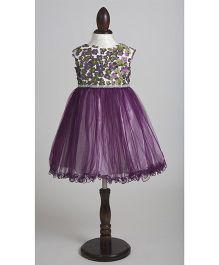 Whitehenz Clothing Rachel Net Party Dress with Stone Belt - Purple