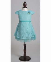 Whitehenz Clothing Elegant Satin Lace Overlay Party Dress - Aqua Green