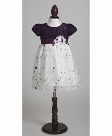 Whitehenz Clothing Adorable Sequins Fusion Overall Embroidery Party Dress - White & Purple