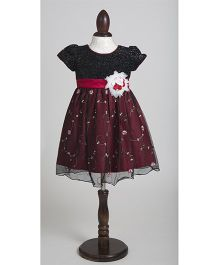 Whitehenz Clothing Adorable Sequins Fusion Overall Embroidery Party Dress - Black & Maroon