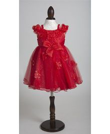Whitehenz Clothing Blooming Floral Shimmer Party Dress with Pearl Back Bow - Red