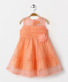 Yellow Duck Sleeveless Party Wear Frock Flower Motif & Sequence Design - Peach