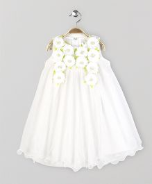 Yellow Duck Sleeveless Party Wear Frock Flower Motif - Off White