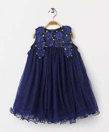 Yellow Duck Sleeveless Party Wear Frock Flower Motif - Navy
