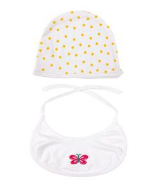 Grandma's Cap And Tie Up Bib Butterfly Embroidery - Yellow & White