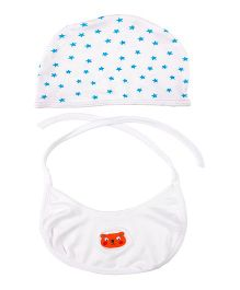 Grandma's Cap And Tie Up Bib Tiger Face Embroidery - Blue & White & White
