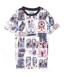 Converse Half Sleeves Tee Shoes Print - Off White