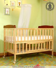 Babyhug Hamilton Wooden Cot - Natural Finish