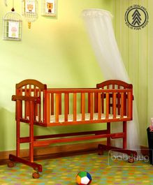 Babyhug Ionia Wooden Cradle With Mosquito Net - Cherry