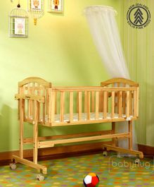Babyhug Ionia Wooden Cradle With Mosquito Net - Natural Finish
