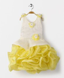 Enfance Sleeveless Party Wear Frilly Dress - Yellow