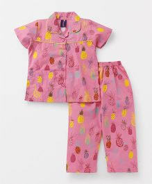 Enfance Core Pineapple Print Night Suit - Pink