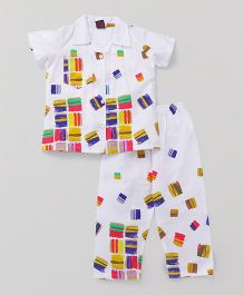 Enfance Core Printed Night Suit - White