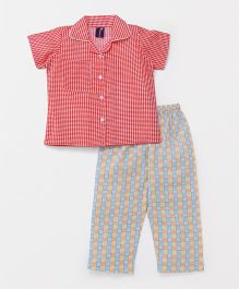 Enfance Core Striped Night Suit - Red