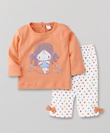 Tango Full Sleeves Top And Dotted Pajama Bow Appliques - Orange White