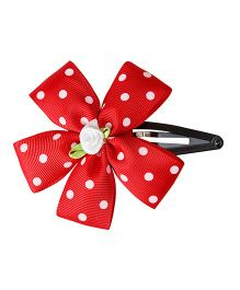 Keira'S Pretties Polka Dots Ribbon Flower Tic Tak Hair Clip - Red