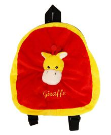 Surbhi Plush Bag With Giraffe Face Motif Red Yellow - 13.3 inches