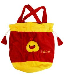 Surbhi Plush Bag Chick Motif - Red Yellow