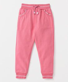 Button Noses Full Length Thermal Track Pants With Drawstring - Pink