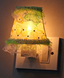 Mini Night Lamp Butterfly Design - White & Green