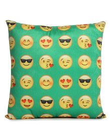 Deals India Printed Smiley Cushion - Green