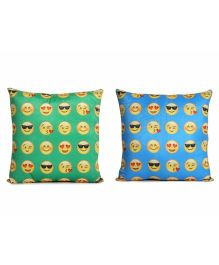 Deals India Printed Smiley Cushion Set of 2 - Blue Green