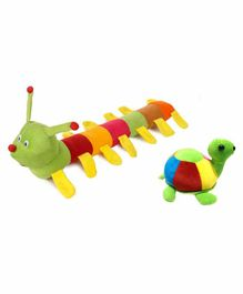 Deals India Caterpillar & Tortoise Soft Toys Pack of 2 - Multicolour
