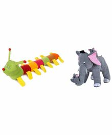 Deals India Mother Elephant With 2 Babies & Caterpillar Soft Toy - Grey Multi Color