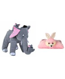 Deals India Mother Elephant With 2 Babies Soft Toy & Bunny Pillow - Grey Pink