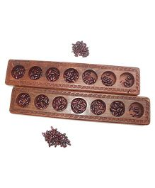 Aatike Ali Guli Mane Strategy Wooden Game - Brown