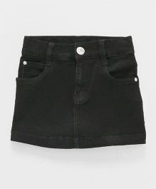 Babyhug Denim Skirt With Adjustable Elastic Waist - Black