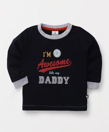 Ollypop Full Sleeves T-Shirt Awesome Like Daddy Print - Navy Blue
