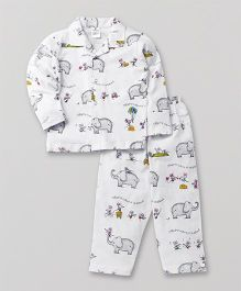 Ollypop Full Sleeves Night Suit Elephant & Rat Print - White