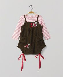 Little Kangaroos Singlet Frock With Striped Inner Tee - Olive Green