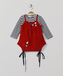 Little Kangaroos Singlet Frock With Striped Inner Tee - Red