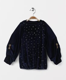 Little Kangaroos Party Wear Top Triangle Print - Navy Blue