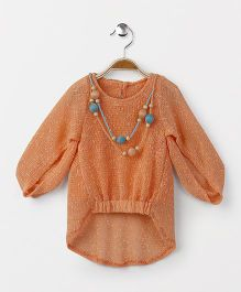 Little Kangaroos Long Sleeves Top With Inner & Neck Piece - Peach