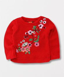 Little Kangaroos Full Sleeves Winter Wear Top Floral Embroidery - Red
