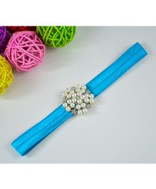 Little Miss Cuttie Rhinestone Pearl Headband - Peacock Blue