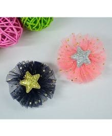 Little Miss Cuttie Set Of 2 Flower Applique Hairclips - Black & Peach