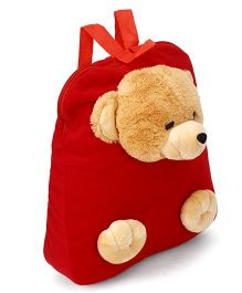Funzoo Soft Toy Bag Teddy Bear Shape Red & Brown - 12.5 inches