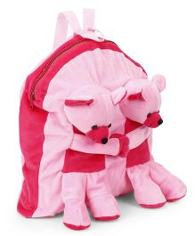 Funzoo Twin Teddy Soft Toy Bag Light Pink - 12.9 inches