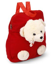 Funzoo Soft Toy Bag Teddy Bear Shape Red & Cream - 12.5 inches
