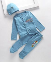 Royal Brats Printed Organic Cotton Top & Bottom set with Cap - Blue