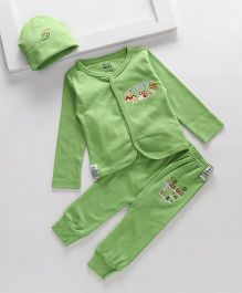 Royal Brats Printed Organic Cotton Top & Bottom set with Cap - Green