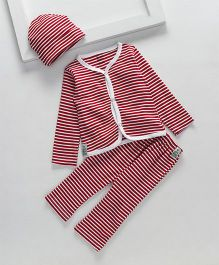 Royal Brats Striped Organic Cotton Top & Bottom set with Cap - Red & White