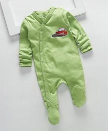 Royal Brats Car Printed Organic Cotton Footed Bodysuit - Green