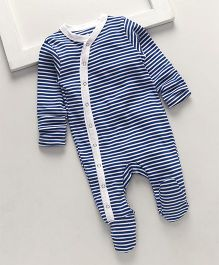 Royal Brats Striped Organic Cotton Footed Bodysuit - Blue