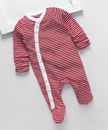 Royal Brats Striped Organic Cotton Footed Bodysuit - Red