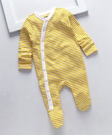 Royal Brats Striped Organic Cotton Footed Bodysuit - Yellow